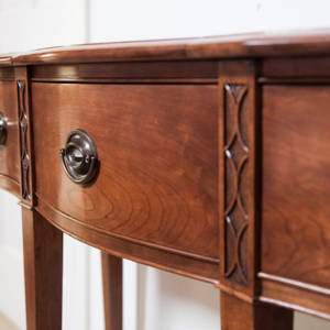 Federal style Cherry Serpentine Entryway Table by james huggett carved drawers