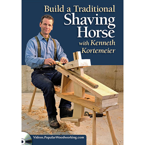 DVD cover for how to build a traditional shaving horse with kenneth kortemeier sitting on a shave horse