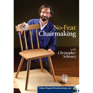 DVD cover for No-fear chairmaking with Christopher Schwarz holding chair on woodworking workbench