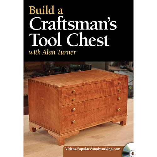 DVD cover for Build a Craftsman's Tool Chest with Alan Turner chest sitting on woodworking workbench