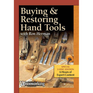 DVD cover for Buying & Restoring Hand Tools with Ron Herman hand planers, wood chisels, hand saws, hand brace drills