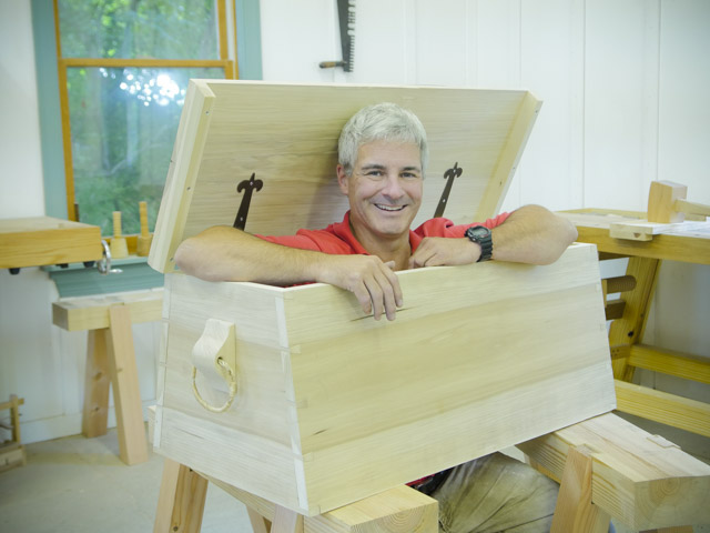 tom calisto popping out of a sailor tool chest