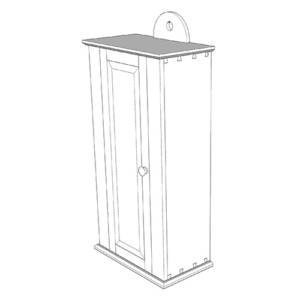 Drawing of a hanging shaker wall cabinet designed by Joshua Farnsworth