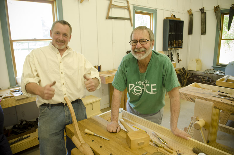 Will Myers posing with thumbs up with a student at the hancock shaker candle stand class at Joshua Farnsworth's Wood And Shop Traditional Woodworking School