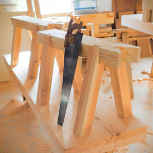 Pair of Heavy Duty Sliding Dovetail Saw Benches in Joshua Farnsworth's woodworking workshop