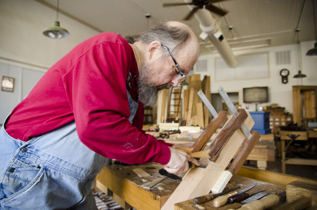Bill Anderson making a wooden bench plane at Roy Underhill's Woodwright's School