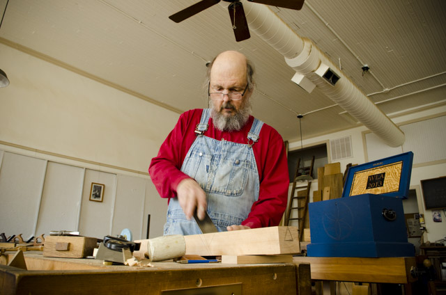 Bill Anderson fitting a handplane iron while making a wooden bench plane