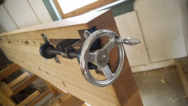Wagon Vise or Tail Vise for Moravian Workbench from underneath