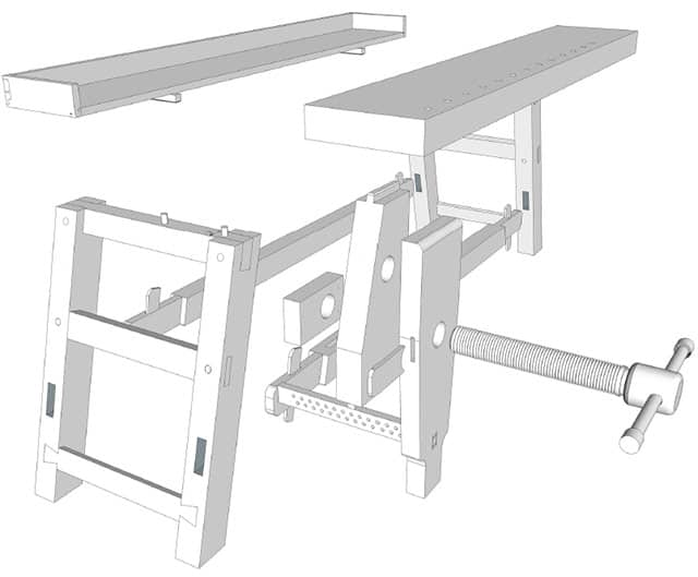 Moravian Workbench plans exploded view